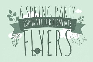 6 Spring Flyers Vector Print