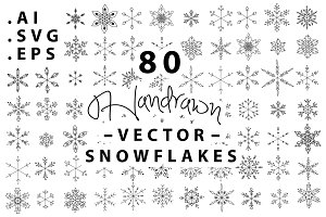 80 Handrawn Snowflake Vectors