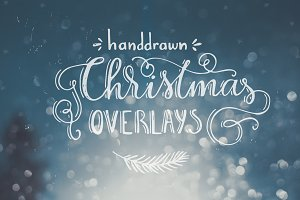 Handdrawn Christmas Photo Overlays