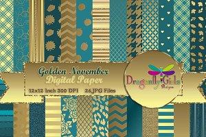 Golden November Digital Paper