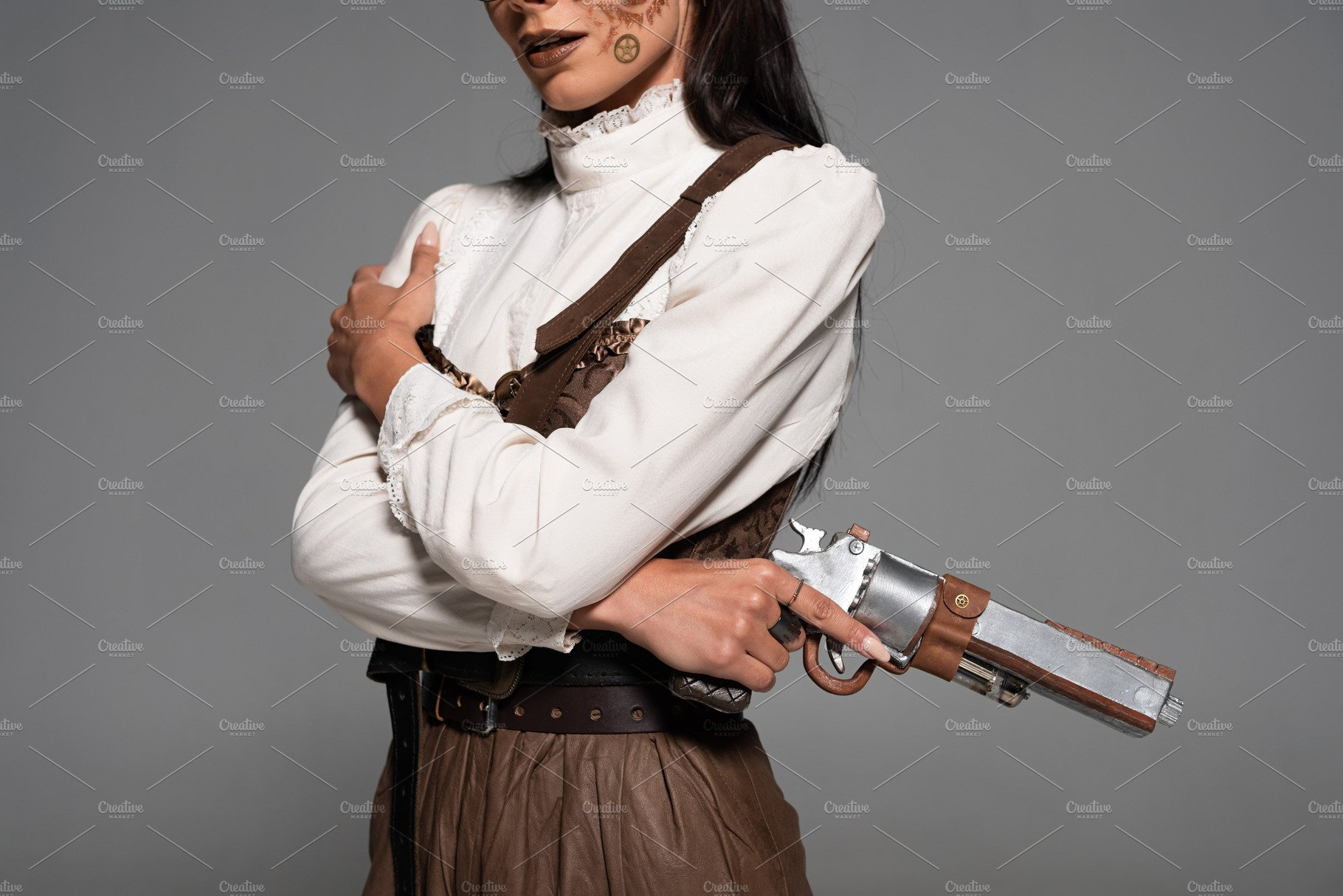 Cropped View Of Steampunk Woman Hold High Quality People Images Creative Market