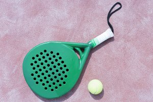 paddle racket and ball