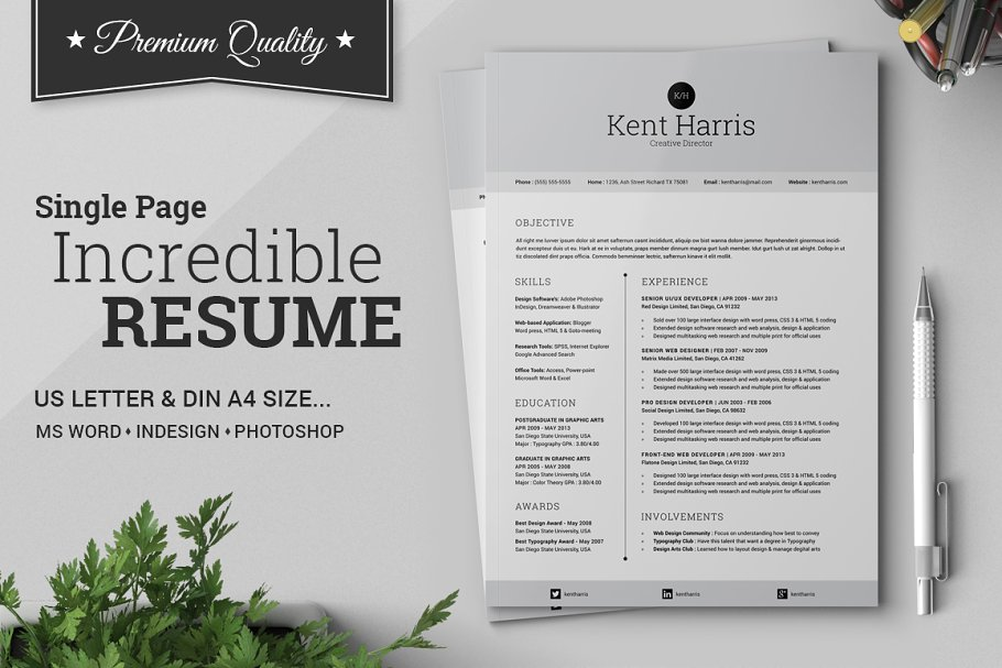 Incredible Single Page Resume Templates Creative Market