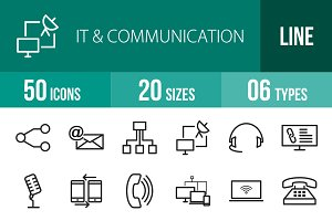 50 IT & Communication Line Icons