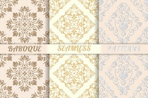 Baroque seamless patterns set