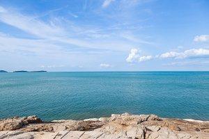 Rocky beach and sea