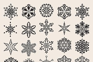 25 Vector Snowflakes Set