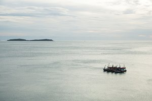 Fishing boats in sea