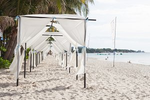 White tent on the beach