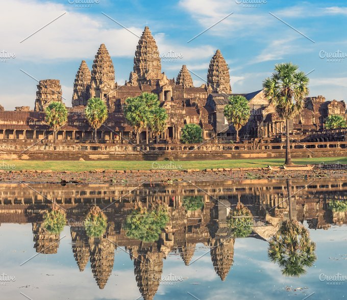 Angkor wat temple at sunrise architecture photos on for Wat architecture