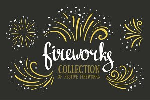Hand drawn vector festive fireworks