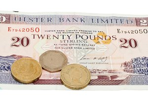 Pound with coins
