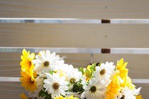 Vase of flowers on balcony