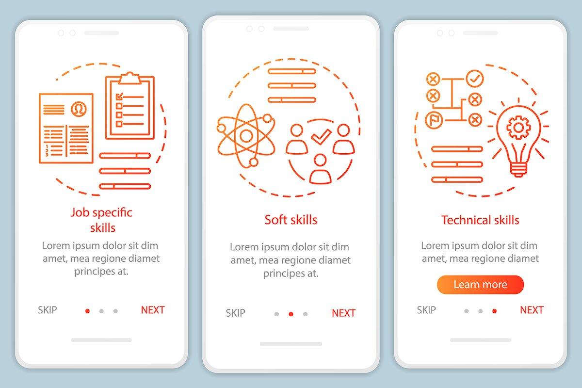 Skills orange gradient app pages