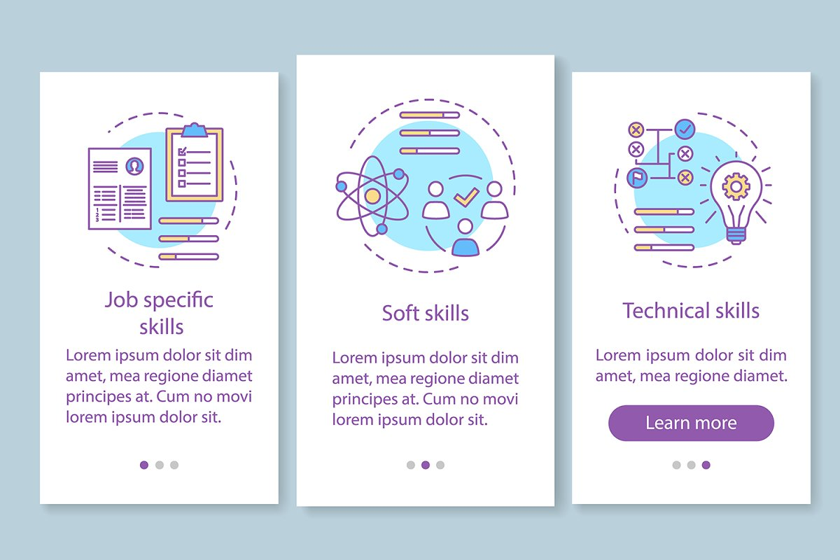 Skills onboarding mobile app pages