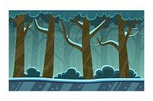 Winter Forest Cartoon Background