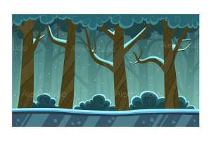 Winter Forest Cartoon Background