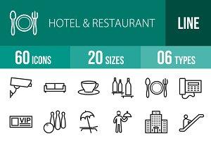60 Hotel & Restaurant Line Icons
