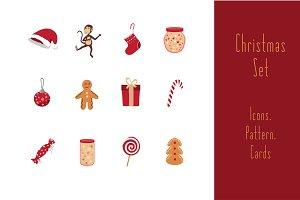 Monkey Christmas set of images.