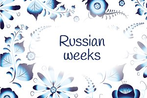 Russian weeks, banner with gzhel