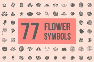 Pack of 77 decorative flower symbols