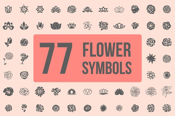 Pack of 77 decorative flower symbol…