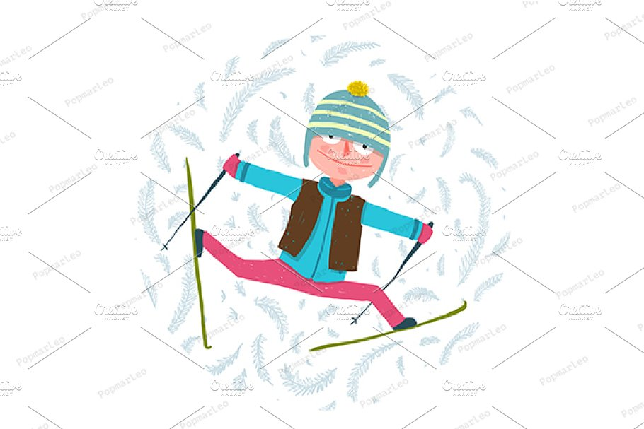 Funny Colorful Skier Exercising