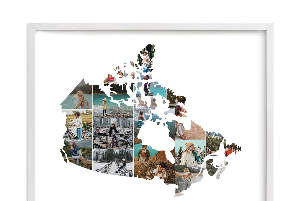 Map Of Canada Template.Canada Map Photo Collage Template