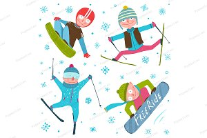 Skier Snowboarder Winter Sport Set