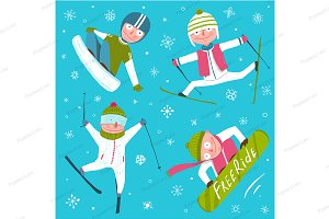 Ski Snowboard Snowflake Winter Sport