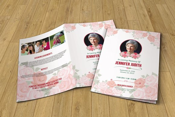 funeral program template v232 brochure templates creative market