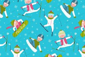 Skier Snowboarder Seamless Pattern