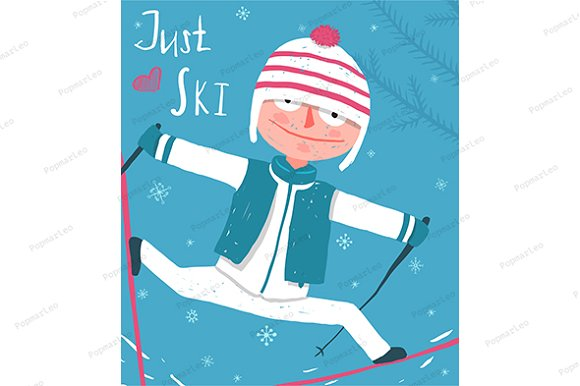 Ski Sport Funny Poster Design in Illustrations