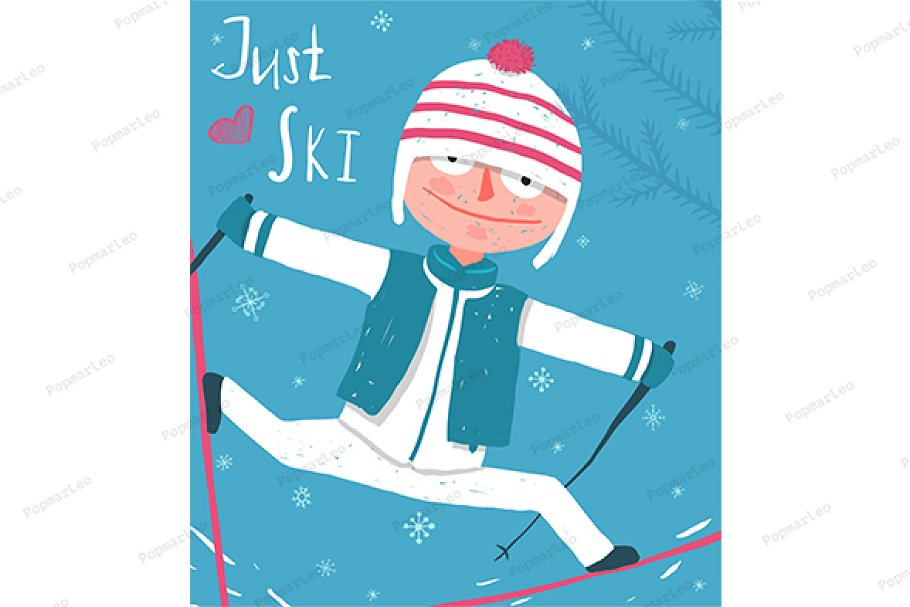 Ski Sport Funny Poster Design in Illustrations - product preview 8