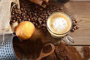 cup of hot coffee with muffins