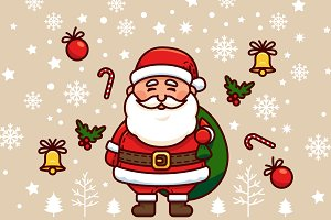 Santa Claus Vector Christmas Clipart