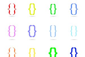 Curly bracket icon  colored set