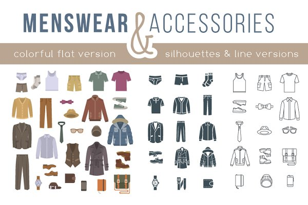 Men clothes and accessories icons