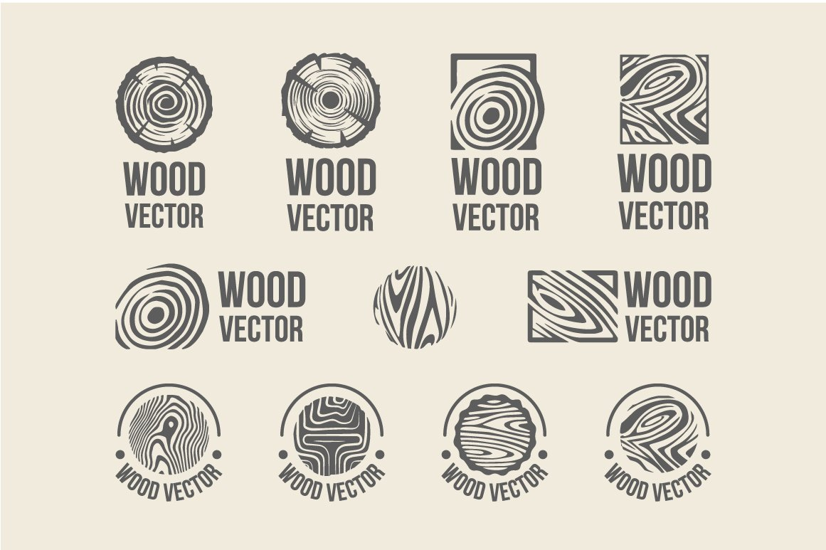 Set Of Wood Rings Texture Logo Objects Creative Market