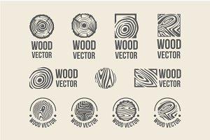 Set of wood rings texture logo