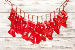 Advent calendar. Red stocking