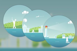 Cities Vector Illustrations Set