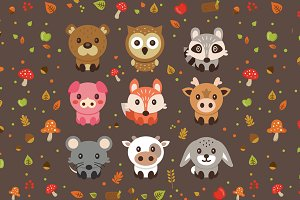 Woodland Cute Vector Pets Animals