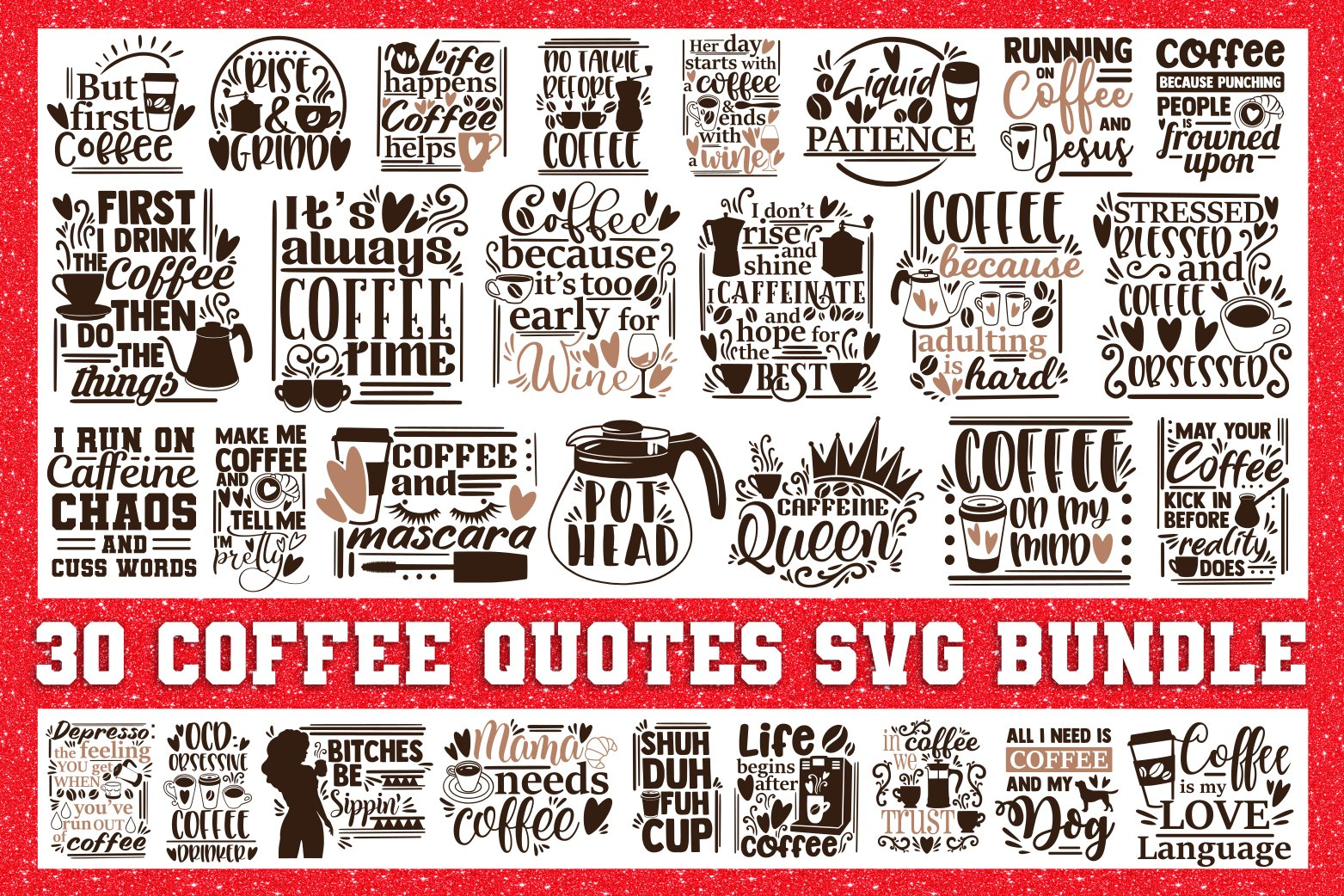 Coffee Svg Bundle Funny Quotes Svg Pre Designed Photoshop Graphics Creative Market