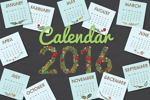 Multi Calendar for 2016 with flowers