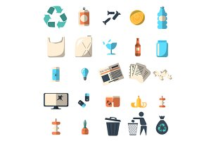 Waste sorting and recycling icons