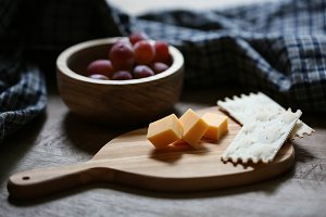 Rustic Table Cheese and Grapes