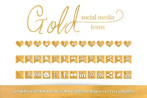 Gold Foil Social Media Icon Set