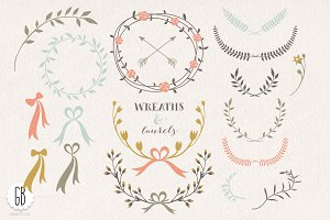 Wreaths laurels ribbons folk flowers
