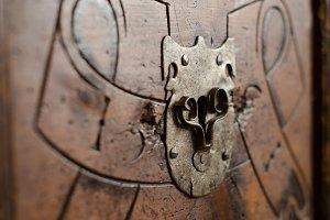 Antique bureau keyhole